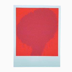 Rote Vintage Lithographie von Bernd Berner, 1972