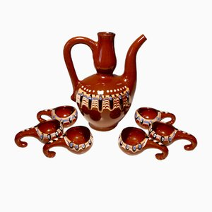 Traditional Hand-Made Bulgarian Pottery Coffee Set, 1970s
