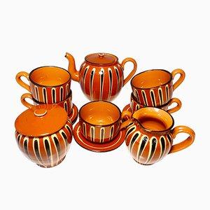 Juego de té y café búlgaro tradicional de cerámica, años 70