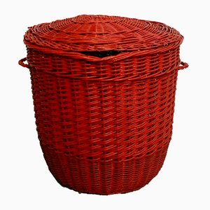 Italian Red Rattan Laundry Basket, 1970s