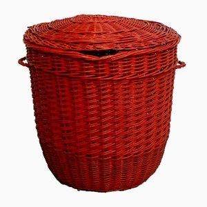 Roter italienischer Wäschekorb aus Rattan, 1970er