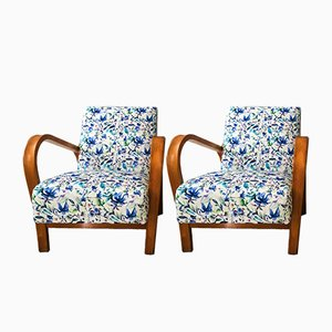 HF11 Bentwood Armchairs by Jindřich Halabala in Blue Floral Velvet, 1950s, Set of 2
