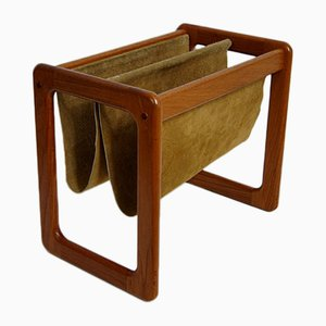 Danish Teak & Leather Magazine Holder, 1960s