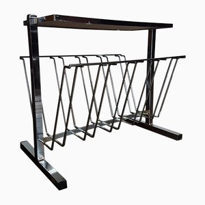 Vintage Chrome & Teak Magazine Rack