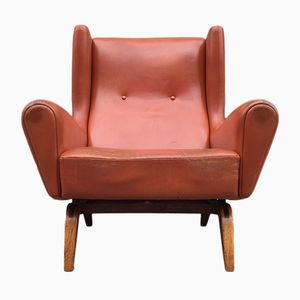Wingback Leather & Rosewood Easy Chair by Illum Wikkelsø for Søren Wlladsen, 1959