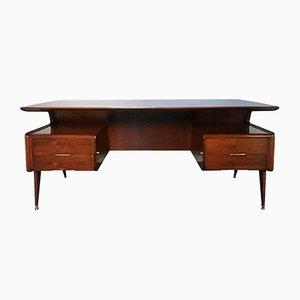 Italian Walnut Executive Desk by Guglielmo Ulrich, 1950s