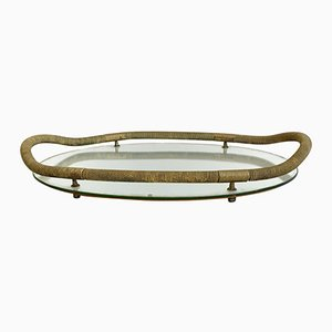 Vintage Brass and Mirrored Glass Tray