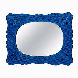 Dunkelblauer venezianischer Spiegel mit Messing-Nieten, 1940er
