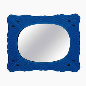 Venetian Deep Blue Mirror with Brass Beading, 1940s
