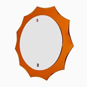 Vintage Italian Bright Orange Mirror