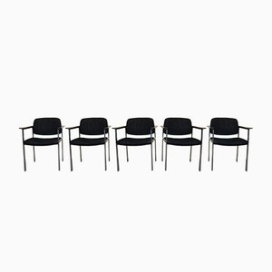 Chrome & Fabric Armchairs from Thonet, 1960s, Set of 5