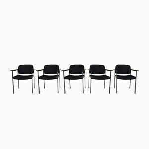 Stühle aus Chrom & Stoff von Thonet, 1960er, 5er Set
