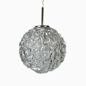 Lampada sferica in vetro e cromata di Doria Leuchten, anni '60