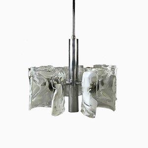 Lampe Space Age en Chrome et Verre Givré, 1960s
