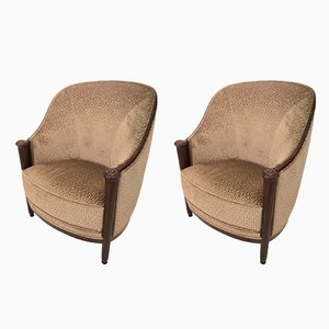 Large French Club Chairs, 1920s, Set of 2