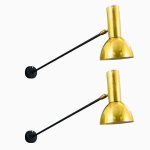 Wandlampen aus Stahl & Messing, 1950er, 2er Set