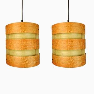 German Wooden Pendant Lights from Zicoli, 1970s, Set of 2