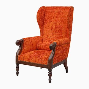 Antique Italian Wingback Chair with Mahogany Frame