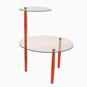 Tavolino Mid-Century in vetro con gambe rosse, Italia
