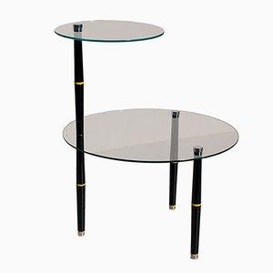 Tavolino vintage in vetro con gambe nere, Italia