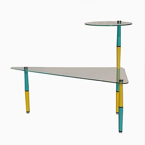 Vintage Italian Glass Side Table with Brightly Colored Legs