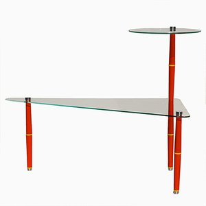 Vintage Italian Glass Side Table with Bright Red Legs