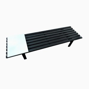 Black BZ82 Slat Bench with Sliding Shelf by Martin Visser for 't Spectrum, 1960s