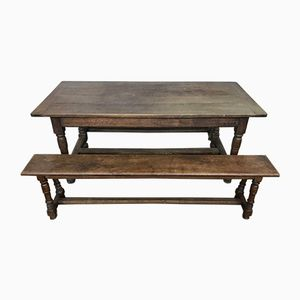 Antique French Oak Monastery Table with 2 Benches