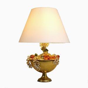 Lampe de Bureau Mid-Century en Laiton et Verre