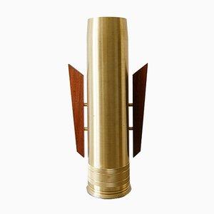 Vintage Brass & Teak Floor Vase