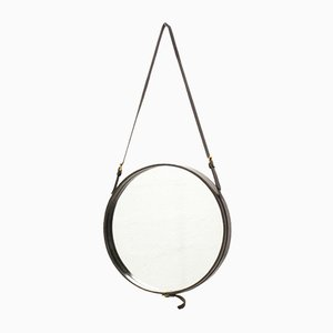 Spiegel aus Leder & Messing von Jacques Adnet, 1930er