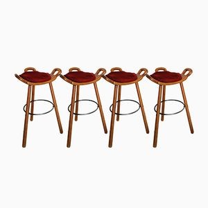 Wooden Stools, 1950s, Set of 4