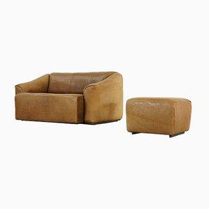 Rustikales 2-Sitzer Sofa und Fußhocker Ds 47 von de Sede, 1960er