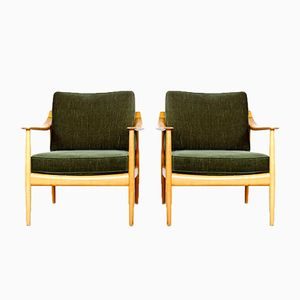 Dark Green Velvet Armchairs by Walter Knoll, 1960s, Set of 2