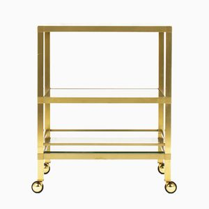 Brass Dessert Trolley with Carrara Marble Top, 1970s