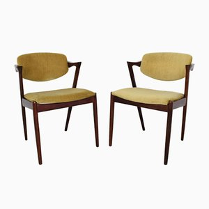 Chaises Modèle 42 en Palissandre par Kai Kristiansen, Danemark, 1960s, Set de 2