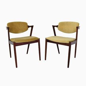 Danish Model 42 Rosewood Chairs by Kai Kristiansen, 1960s, Set of 2