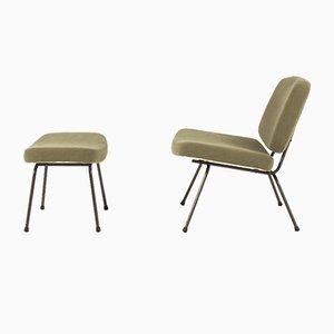 Sedia bassa e poggiapiedi CM190 di Pierre Paulin per Thonet, anni '50