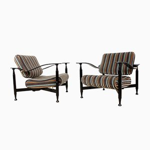 Italian Mid-Century Striped Armchairs, 1950s, Set of 2