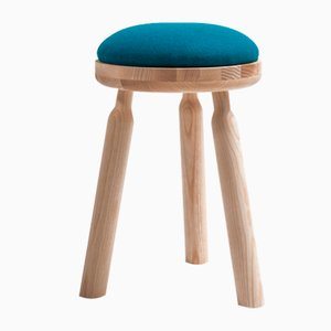 Ninna Stool in Natural Ash with Blue Wool Seat by Carlo Contin for Adentro