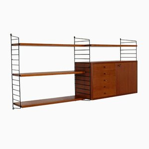 Vintage Teak Veneer Wall Unit by Katja & Nils 'Nisse' Strinning for String