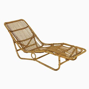 Chaise Longue Vintage en Osier, Italie