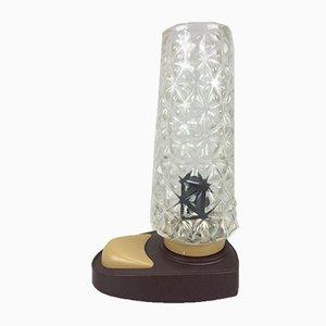 Lámpara de mesa de noche alemana vintage de plástico y vidrio, años 60