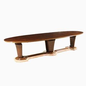 Großer italienischer Tisch aus Marmor, Nussholz & Messing, 1940er