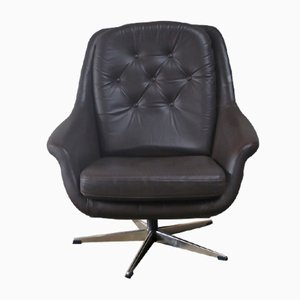 Mid-Century Danish Leather Swivel Armchair, 1970s
