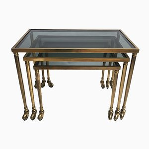 Mid-Century French Brass Nesting Tables