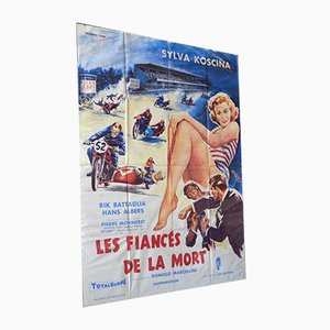 Large Vintage Movie Poster 'Les Fiances de la Mort' from Totalscope, 1957
