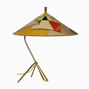 Large Mid-Century Brass Tripod Table Lamp with Colorful Fabric Shade from Kalmar