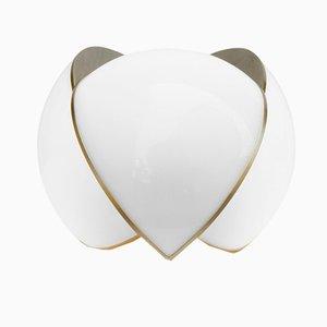 Kleine Collision Tischlampe aus vergoldetem verzinktem Metall mit weißem Acrylglas von Bohinc Studio