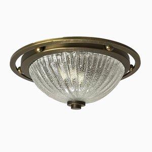 Lampe Space Age Vintage en Verre Givré de Fischer Leuchten
